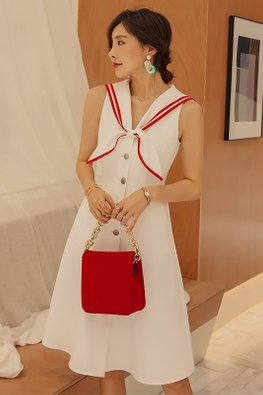 White Red Trimmings Lapel Sailor Dress