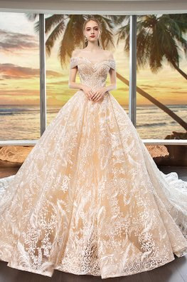 Off-Shoulder Sweetheart Full Embroidery Wedding Gown