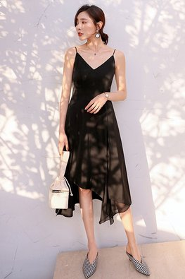 Black V-Neck Spaghetti Strap Asymmetrical Hem Dress