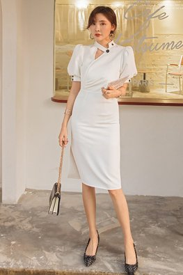 White Button Collar Puff Sleeves Sheath Dress