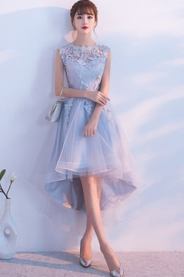 Assorted Colours Illusion Lace Neckline Hi-Lo Gown