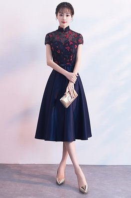 Navy Blue Mandarin Collar Red Butterflies A-Line Gown