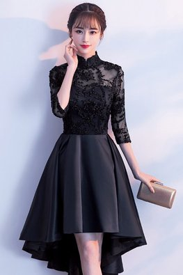 Assorted Colours Mandarin Collar Illusion Neckline Elbow Sleeves Hi-Lo Gown