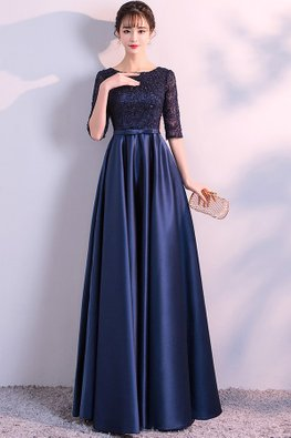 Blue Jewel Neckline Elbow Sleeves High Waist Floor / Knee Length Gown