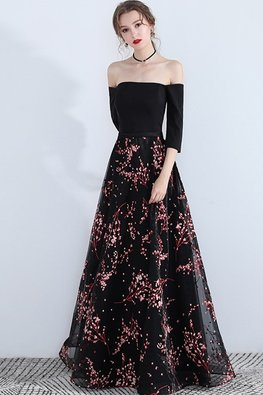 Black Off-Shoulder Pink Floral Gown