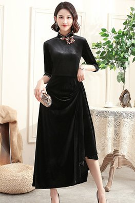 Assorted Colours Mandarin Collar 3/4 Sleeves A-Line Velvet Cheongsam