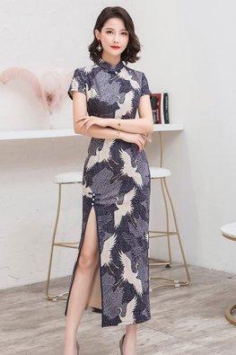 Blue / Grey Cranes Suede Cheongsam