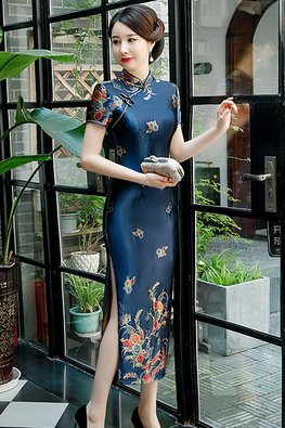 Red / Blue Tea-Length Velvet Cheongsam