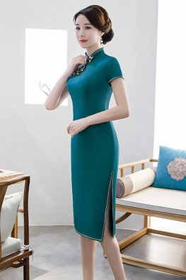 Red / Green Mandarin Collar Elaborated Knots Cheongsam