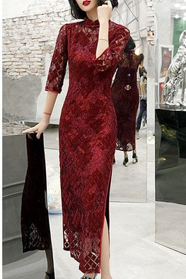 Red / Black Tile Lace 3/4 Sleeves Cheongsam