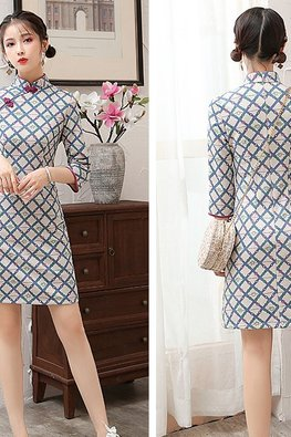 Red / Blue Net Print Mini Cheongsam