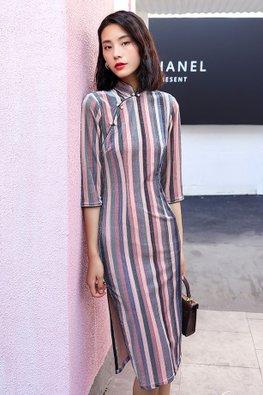Blue / Pink Elbow Sleeves Stripes Cheongsam