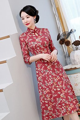 Blue / Red Autumn Floral A-Line Cheongsam