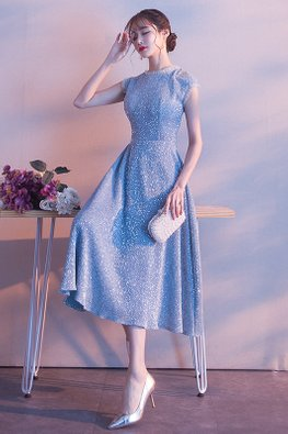 Blue Round Neck Side Cut-Out Midi Dress