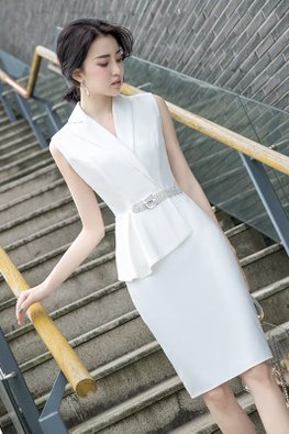 Assorted Colours V-Lapel Front Belted Sheath Dress