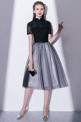 Black Grey Mandarin Collar Short Sleeves Mesh Gown
