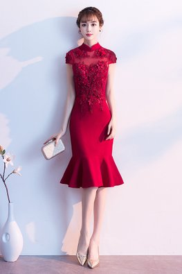 Wine Red / Red Mandarin Collar Cap Sleeves Mermaid Gown