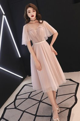 Nude Pink Illusion Sweetheart Wide Sleeves Gown