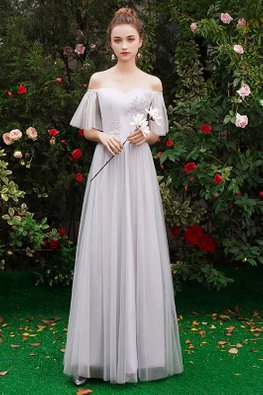 Grey Off-Shoulder Sweetheart Mesh Gown
