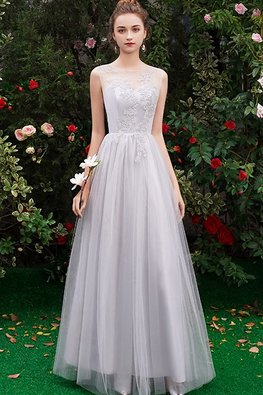 Grey Sweetheart Illusion Mesh Gown