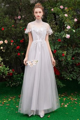 Grey High Neck Sweetheart Illusion Mesh Gown