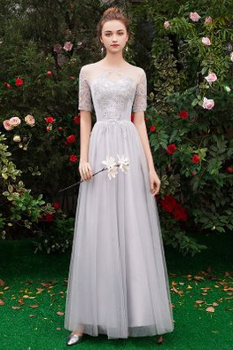 Grey Sweetheart Illusion Sleeves Mesh Gown