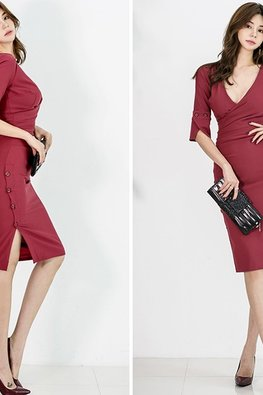 Red Low V-Wrap Side Button Down Sheath Dress