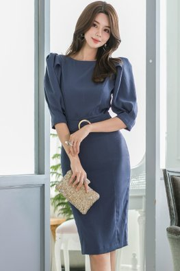 Blue Round Neck Puff Sleeves Belted Sheath Dress