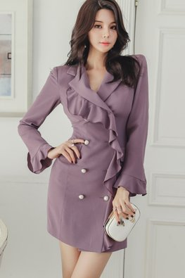 Purple V-Lapel Ruffles Long Sleeves Button Sheath Dress