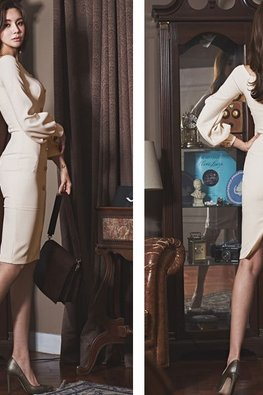 Almond Wide Neck Long Sleeves Button Down Sheath Dress