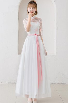 White Mandarin Collar Pink Star Gown