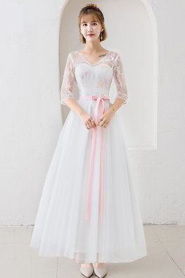 White Illusion V-Neckline Pink Star Gown