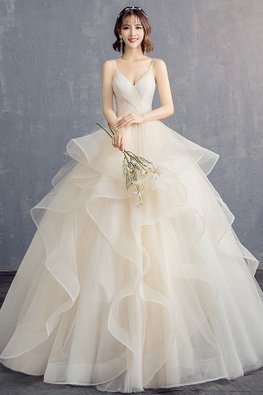 V-Neck Pleated Bodice Layered Skirt Wedding Gown