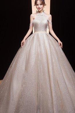 Halter Tassels Sequins Bodice Stardust Wedding Gown