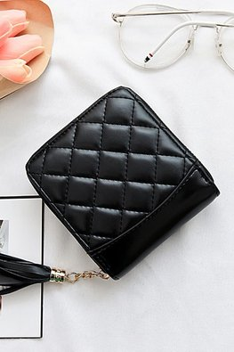 White / Black Diamond Etched Wallet with Tassels
