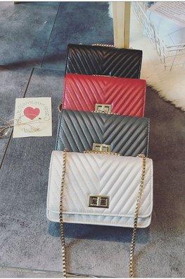 Assorted Colours V-Stitched Shoulder Chain Bag