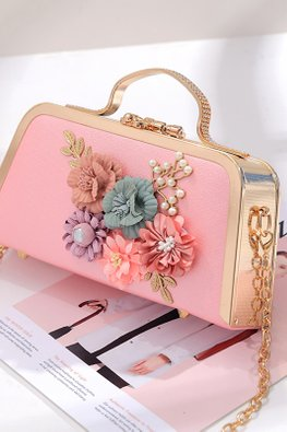 Assorted Colours 3D Floral Handle Bag