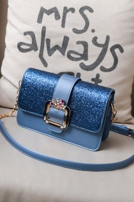 Assorted Colours Glitter Buckle Sling Bag