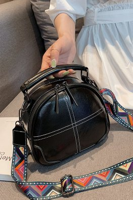 Assorted Colours Semi-Oval Tribal Strap Bag
