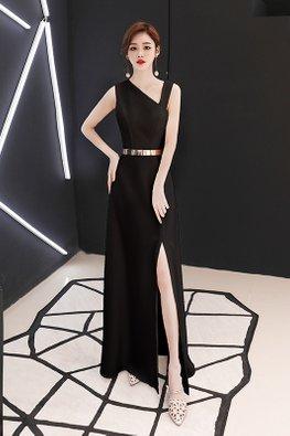 Black Slant V-Neck High Slit Gown (Express)