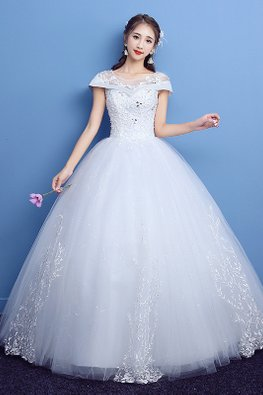 White Illusion Neckline Cap Sleeves Overlay Wedding Gown