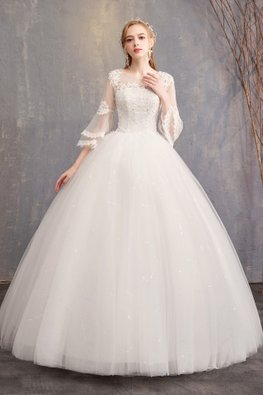 White Illusion Neckline Double Layer Sleeves Wedding Gown