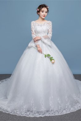 White Illusion Neckline Lace Trumpet Sleeves Wedding Gown