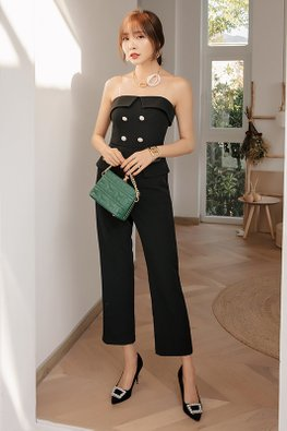 Black Strapless One-Piece Jumpsuit