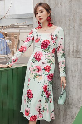 Floral Square Neckline Long Sleeves Dress