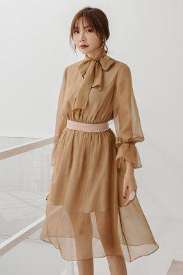 Nude V-Neck Ribbon-Tie Front Chiffon Dress