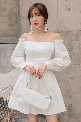 White Off-Shoulder Long Sleeves A-Line Dress