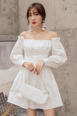 White Off-Shoulder Long Sleeves A-Line Dress