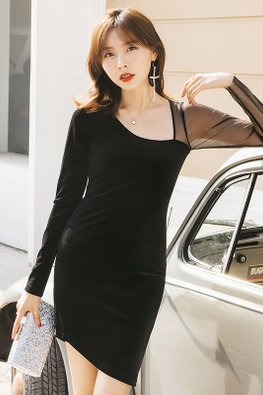 Black One-Sided Illusion Long Sleeves Asymmetrical Dress