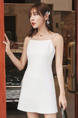 White Pearl Strap Open Back Dress